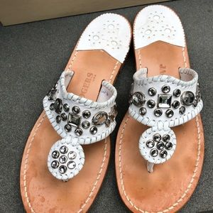 Jack Rogers white leather jeweled sandels.